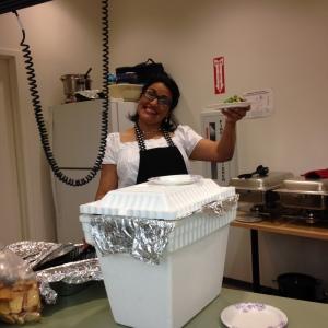 Sister Garcia prepped the salad.