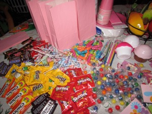 Candy bag prepping.