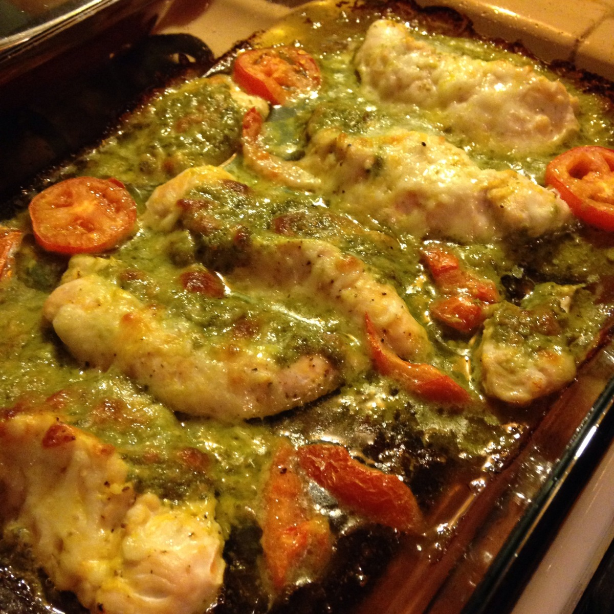 Baked Chicken stuffed with Pesto & Mozzarella Cheese