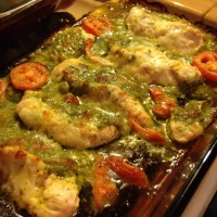 Baked Chicken stuffed with Pesto & Mozzarella Cheese