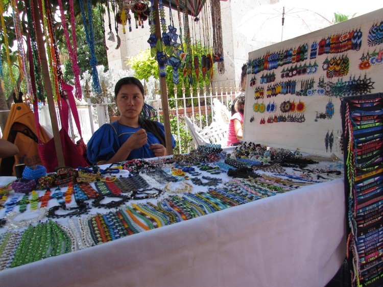Local Natives who sell detailed hand beaded jewelry.