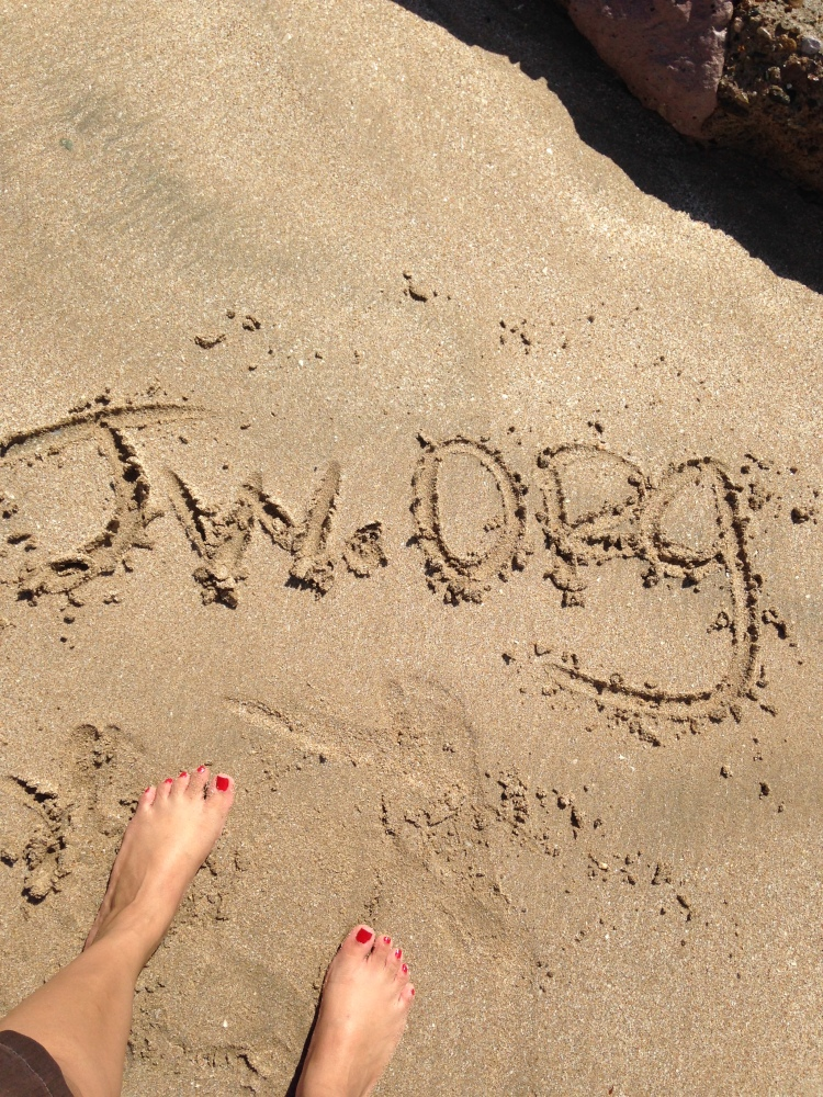 Writing in the sand.