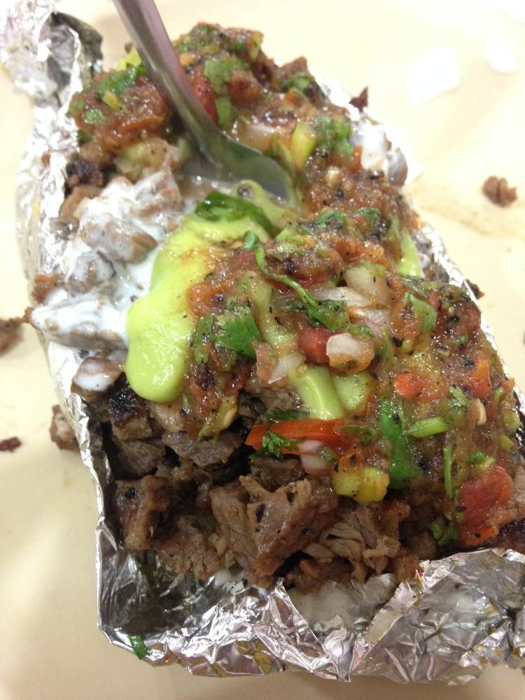 Papa Loca which is their version of a loaded baked potato. (This was my favorite meal on the entire trip.)
