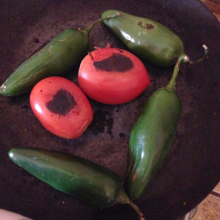 Roasting up tomatoes and jalapenos for salsa.