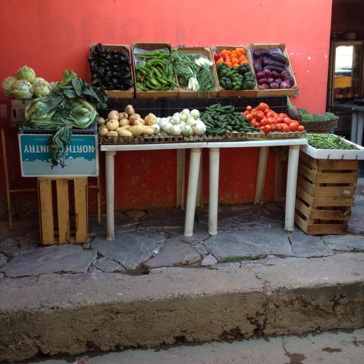 His fresh produce.